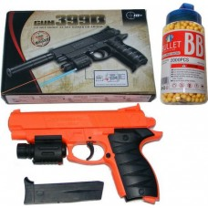 399B Spring Powered 21cm Orange + Black Plastic BB Gun Pistol & 2000 Pellets