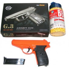 Galaxy G3 Orange Spring Powered PPK Metal BB Gun Pistol 250 FPS & 2000 Pellets