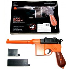 Double Eagle M32 Orange + Black Spring Powered Plastic BB Gun Pistol (Mauser Replica)