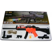 HY015C UMP MP5 Spring Powered Plastic Airsoft BB Gun Rifle with LED Torch and Sight 300 FPS