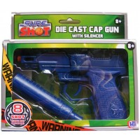 Sure Shot Blue Die Cast Metal 8 Shot Cap Gun with Plastic Silencer